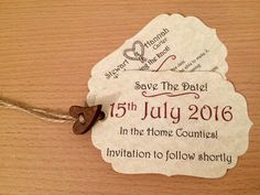 Save The Date Luggage Tags with wooden heart