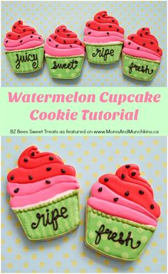 Watermelon Cupcake Cookies - a cute cookie decorating tutorial perfect for a summer party!