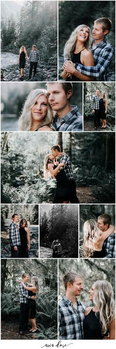 Forest Engagement Session | Couples Photography Session | Posing Ideas | Pacific Northwest Engagement | Outdoor Engagement Session | Engagement Session Outfit Ideas | See the full post: https://asiadore.com/blog/joe-tara-engaged/