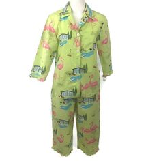 d1aef63578 Nick And Nora Flamingo Poolside BBQ Pajama Set Capri Green Cotton Size  Medium