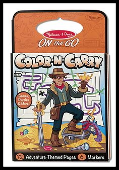 Melissa & Doug's On the Go Color n Carry. We have several selections just for boys. :-)