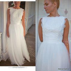Collo a V abito abito da sposa fatto per ordine di di TingBridal, $1000.00