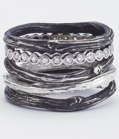 Silver Twig Rings with Diamond Eternity Band, Oxidized Sterling and Bling All Recycled