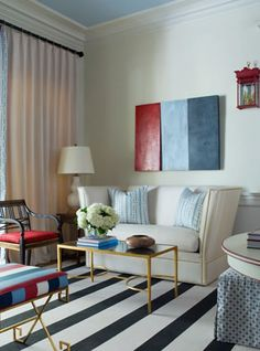Tobi Fairley, Richmond Showhouse, red white and blue, stripes, living room, eclectic