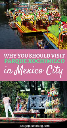 Why a trip to Xochimilco, Mexico City, is a great way to spend a day with your family. The colored boats and the flowers make this a very happy place! Mexico city guide | Mexico city travel tips | Xochimilco Park | Parque Xochimilco #Xochimilco #MexicoCity via @justgoplaces