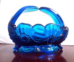 Blue Glass Basket Candy Dish with Embossed by JujubefunnyFinds, $8.00