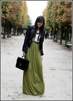 WINTER MAXI SKIRT INSPIRATION  Really interesting shade of green. i like it.