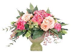 Rose Hydrangea (KF097): Rose Hydrangea, Apricot Pink Green, Sq. Planter, 22wx21dx18h