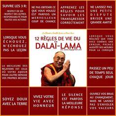 Life Quotes : 12 règles de vie du dalai lama - The Love Quotes Positive Mind, Positive Attitude, Positive Vibes, Positive Quotes, Strong Quotes, Attitude Quotes, Mantra, Osho, Burn Out
