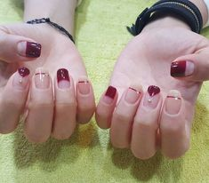 deep burgundy red deep french variation for fall nail art