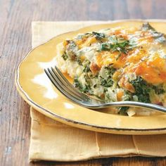 Hash Brown Pancetta Casserole--- Eggs, hash browns, cheese, spinach, pancetta and fabulous flavor—You could also substitute provolone or Swiss cheese for the fontina. Best Potato Recipes, Great Recipes, Favorite Recipes, Yummy Recipes, Breakfast Dishes, Breakfast Recipes, Health Breakfast, Morning Breakfast, Breakfast Club