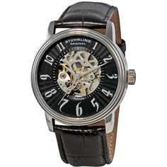 The Romeo timepiece from Stuhrling Original showcases a classy design with a stainless steel case on a black leather strap. This men's watch has a textured black dial with a skeleton center and silvertone Arabic numeral hour markers. Automatic Skeleton Watch, Automatic Watch, Cool Watches, Watches For Men, Men's Watches, Skeleton Watches, Online Watch Store, Beautiful Watches, Watch Brands