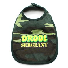 Find Drool Sargeant Baby Bib from crazybabyclothing at best price. These feature all the cool designs just like our creeepers and tees. Camo Baby Clothes, Camo Baby Stuff, Marine Corps Baby, Baby Embroidery, Baby Gift Sets, Baby Bibs, Baby Bodysuit, Baby Shower Gifts, Cool Designs
