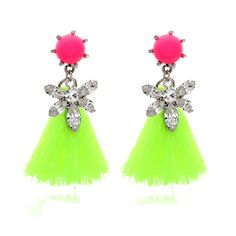 Aliexpress.com : Buy  Fashion crystal luxury drop earrings Fluorescent color popular designs tassel earrings jewelry dropshipping Free Shipp...