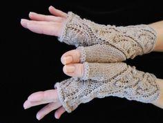 Knitting Pattern PDF Fingerless Gloves Fern Spiral