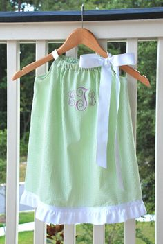 Pillowcase Dress - Lime Green and White Seersucker with Ruffle - Custom Size, $28.00