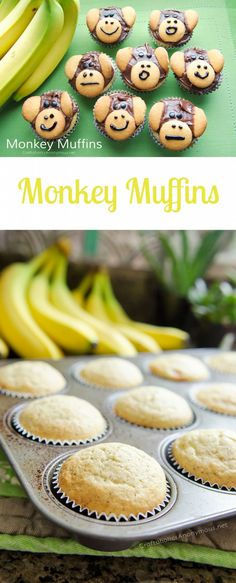 Turn banana muffins into the cutest Monkey Muffins! These are perfect for Rainforest preschool or any age kid snack! Quick and easy idea. Jungle Snacks, Animal Snacks, Class Snacks, Classroom Snacks, Rainforest Preschool, Rainforest Theme, Rainforest Crafts, Preschool Jungle, Healthy Toddler Snacks