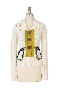 RARE-Anthropologie 2006-cashmere-Penguin-Pocket-cardigan-maglione-giacca-8-10-M