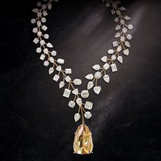Known as L'Incomparable, the necklace created by luxury jeweler Mouawad features a yellow, internally flawless diamond of more than 407 carats suspended from a rose gold setting that is studded with 90 white diamonds weighing nearly 230 carats.