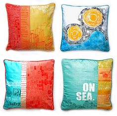 Recycled Hand Printed Silk Cushions by Zoe Murphy, via Flickr