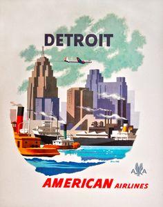 "USA Michigan - Detroit c.1952 by Bern Hill 39 ¾"" x 30"" Vintage travel Poster"