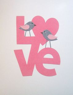 Kids Wall Art, Children's Art Decor, Baby Room Decor, Baby Girl, Pink, Gray, LOVE Birds, 8x10 Print. $14.00, via Etsy.