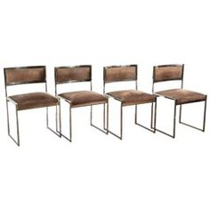 Willy Rizzo Set of Four 1970s Chairs in Brass and Chrome