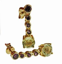 Rhodalite Garnets and Lemon Quartz Drop Earrings - Brisbane Jeweller - Coloured Gems - MONTASH Jewellery Design - www.montash.com.au