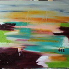 Tableau abstrait huile - toile abstraite rêve en couleurs - 55 x 65 cms (en cours de sechage)