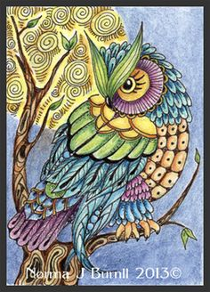 ACEO, 2.5x3.5 inches, Tombow brush pens, clear star glitter pen and micron pen on hot pressed watercolor paper