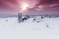 Sunrise over Snowbound Norwegian Village - Shot near Nordseter and Sjujsoen in the Lillehammer area, Norway
