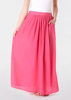pink maxi belted skirt with pockets