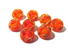 Orange Moonglow Glass Buttons West Germany VINTAGE Eight (8) Moonglow Luster Orange Buttons Vintage Wedding Jewelry Sewing Supplies (N220) by punksrus on Etsy