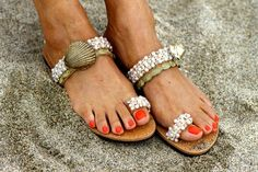 Sandals decorated with gold pleated shells and por ElinaLinardaki