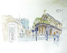 """5D - """"Bank of England"""" by Peter Ayres for 10x10 Drawing the City London 2011"""