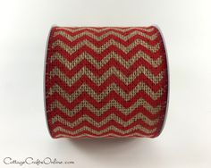 "Burlap Wired Ribbon 4"" Chevron Red And Natural, Ten Yards, Reliant Christmas…"