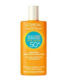 L'Oréal Paris Advanced Suncare Silky Sheer BB Face Lotion 50+: This lightly tinted lotion does it all: moisturizes, evens out blotchiness, and protects your face against fine lines and wrinkles. Plus, a portion of the proceeds is donated to Melanoma Research Alliance.