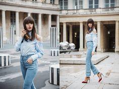 Get this look: http://lb.nu/look/8645031  More looks by Kristi Gogsadze: http://lb.nu/lageorgienne  Items in this look:  Christian Louboutin Red Heels, Flow The Label Blue Pearls Shirt, Flow The Label Denim Pants   #chic #classic #elegant #blue #denim #pearls #furcoat #paris #parisian
