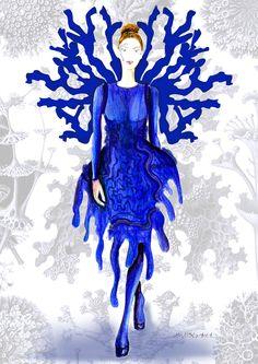 """Ilustración de figurín realizado con técnica manual y digital para el proyecto """"Dragón de Mar""""."""