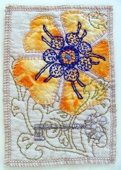 Fiber Art, original mini art quilt, abstract flower, applique and hand embroidery via Etsy