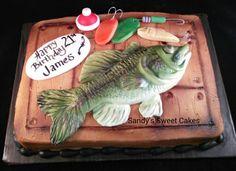 Bass fishing cake. Www.Facebook.com/sandyssweetcakes