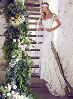 Trumpet/Mermaid Sweetheart Chapel Train Bow(s) Lace Zipper Up Sleeves Short Sleeves Church Garden / Outdoor General No Spring Summer Fall Ivory White Wedding Dress
