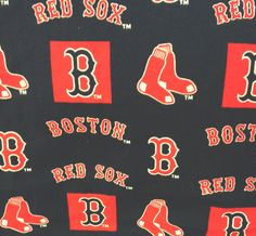 Dark blue background Boston Red Sox fabric for crafts  Boston B and Red Sox words, with the hanging socks. One piece 11 x 18 inches.
