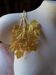 Hojas de oro Vintage japonés arce en Lame oro para novia, sombreros, Ramos, Artesanias ML 111