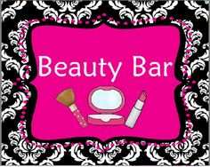 Pink, Black & White Damask Beauty Make-Up Party Sign Girls Sleepover Party, Kids Spa Party, Spa Birthday Parties, Pamper Party, 10th Birthday, Happy Birthday, Spa Day For Kids, Makeover Party, Glamour Party