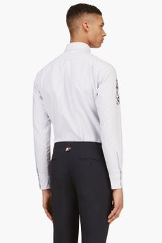 THOM BROWNE White & Blue Embroidered Anchor Striped Shirt