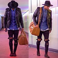Lose the bag and add a bit more silver ~ H&M Fedora, Levi's® Jeans Shirt, Smj Style Biker Jacket, Asos Destroyed ( Selfmade ), H&M Chelsea Boots, Bahge Duffle Bag