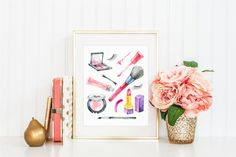 Makeup Cosmetics Collage print. Print your own makeup themed art for your vanity or bathroom! This print is the perfect accessory to have in