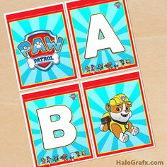 FREE printable Paw patrol Alphabet banner for your party. All Letters prints on x 11 from PDF files. Paw Patrol Birthday Decorations, Alphabet Birthday, Free Printable Banner Letters, Happy Birthday Printable, Paw Patrol Invitations, Birthday Banners, Birthday Ideas, Birthday Boys, Paw Patrol Party