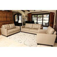 Merano Top Grain Leather Living Room Set Top Grain LeatherBeige Sofa,  Lovseat, Chair By Abbyson